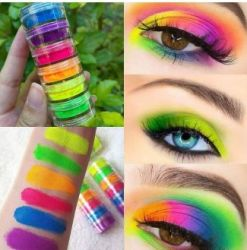 Pó Neon Carnaval  - 6 Cores - Para Unhas - Cabelo - Olhos