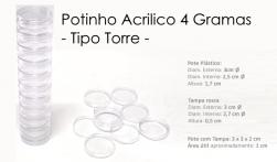Potinho Acrilico Cristal com Tampa de Rosca 1868 - Modelo TORRE - 4g - 1 unid