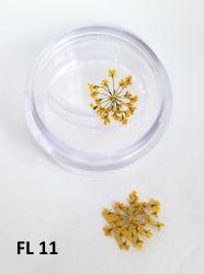 Flor Seca para Decoração de Unhas -  1 Par - FL11 - Amarelo Canário
