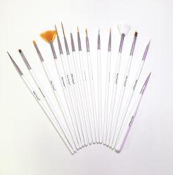 Kit com 15 Pincéis para Decoração de Unhas - Branco