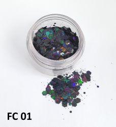 Glitter Flocado Hexagonal Grande Para Encapsular Unhas - 3g - FC01 - Preto