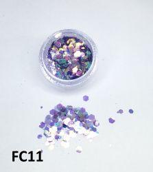 Glitter Flocado Hexagonal Grande Para Encapsular Unhas - 3g - FC11 - Lilas Holográfico