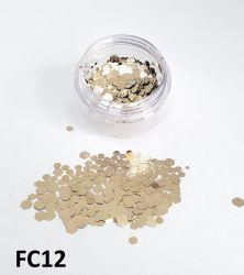 Glitter Flocado Hexagonal Grande Para Encapsular Unhas - 3g - FC12 - Dourado