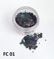 Kit  12 Cores Glitter Flocado Hexagonal Grande Para Encapsular Unhas - 3g - FC14