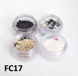 Kit  4 Cores Glitter Flocado Hexagonal Grande Para Encapsular Unhas - 3g - FC17