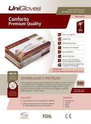 Luvas Látex Unigloves Branca - Conforto Premium Quality -  100 Unidades - Sem Pó - Tam M