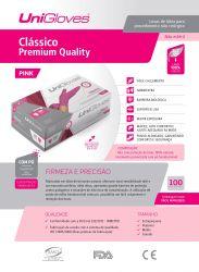 Luvas Látex Unigloves Pink - Clássico Premium Quality -  100 Unidades - Tam P