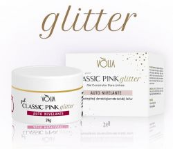 VÒLIA - Gel Classic Pink GLITTER - 24g - LANÇAMENTO